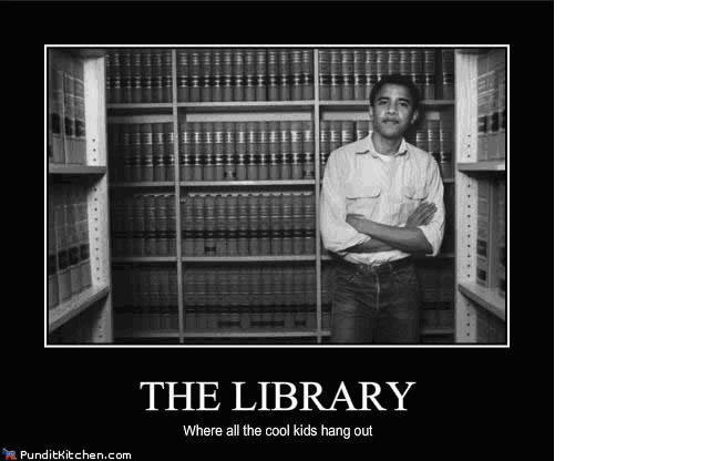 Obama in library