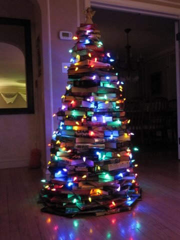 Christmas tree out of books